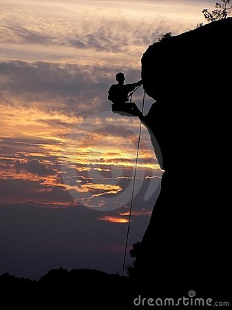 Free Climbing And A Sunset Royalty Free Stock Image - 1525146