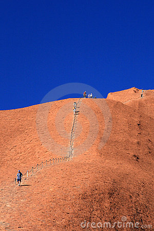 Climbing Ayres Rock -  Australia Editorial Stock Image