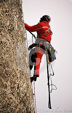 Climbing on big wall Valea Alba