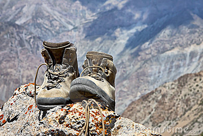 Climbing boots on the rock