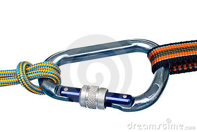climbing carabiner and two ropes