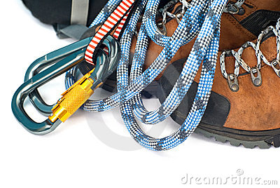 Climbing gear - carabiners, rope and boots