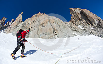 Climbing in Mont Blanc, Alps.