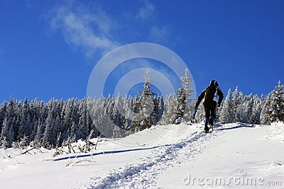 Climbing on the mountain in winter