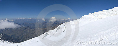 Climbing panorama on glacier