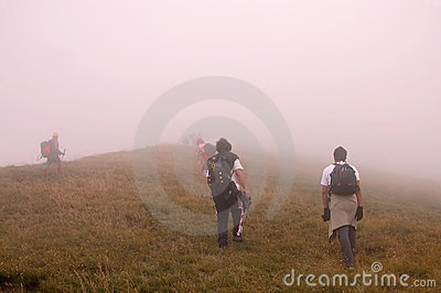 Climbing the peak in fog