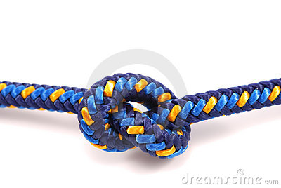 Climbing rope tied in a knot