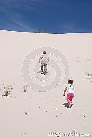 Climbing sand dune