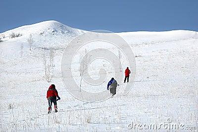 Climbing snow mountain