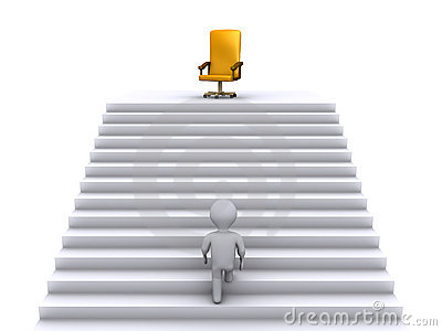 Climbing stairs to earn the business position
