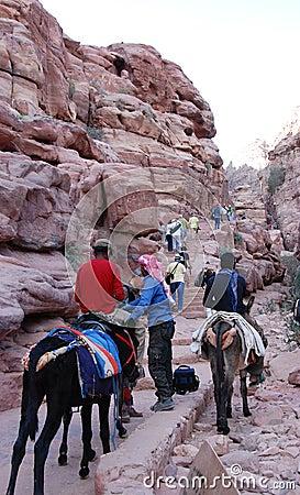 Climbing  to Petra mountain. Editorial Photo