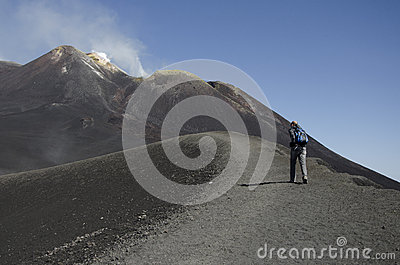 Climbing the volcano Etna Editorial Photography