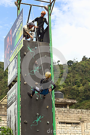 Free Climbing Wall In Banos, Ecuador Stock Photos - 43684673