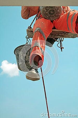 Climbing Worker`s Foot