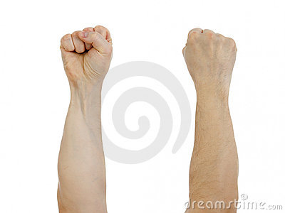 Clinched fist raised up isolated
