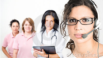 Clinic receptionist in headset
