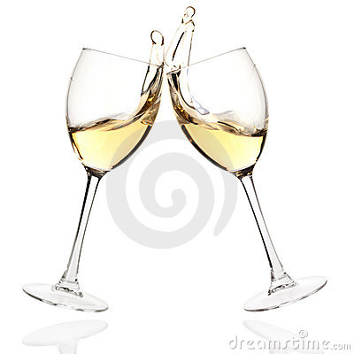 Clink glasses with white wine