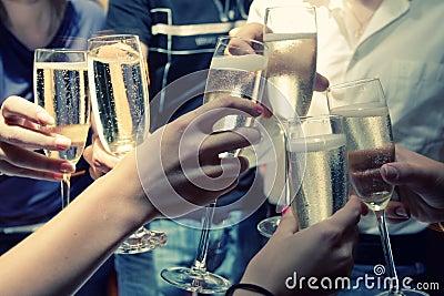 Clinked champagne glasses