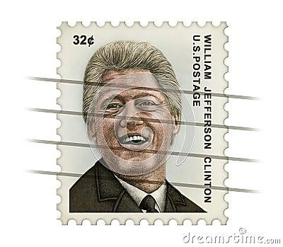 Clinton Postage Stamp Redaktionell Arkivfoto