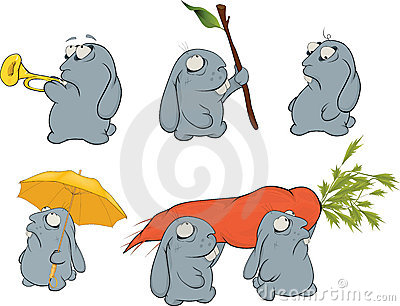 Clip art. About a blue rabbits. Cartoon