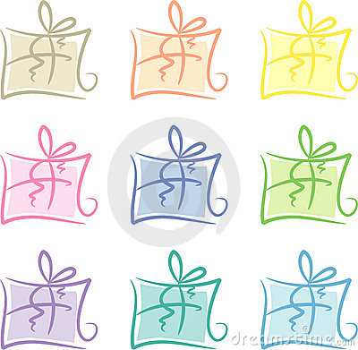 Clip-art Set: Pastel-colored gift packages