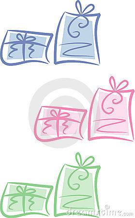 Clip-art Set: Pastel-colored gift packages (II)