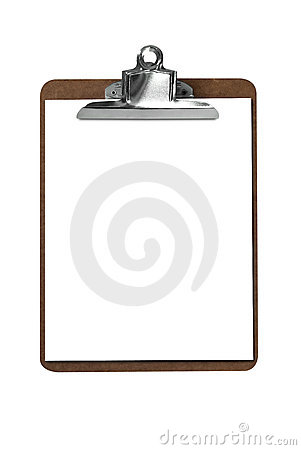 Clip board with paper
