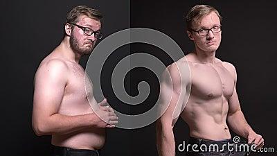 Clip compuesto del hombre obeso en el perfil que toca su estómago y bien hecho que presentan el resultado de perder el peso encen almacen de metraje de vídeo