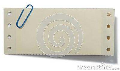 Clip di carta e nota