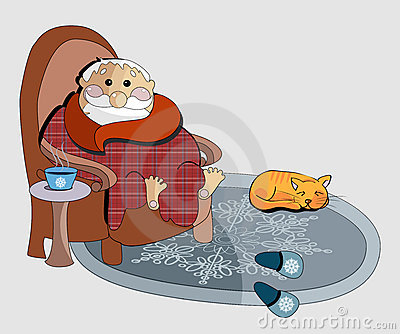 Clipart illustration of of an old man in a chair