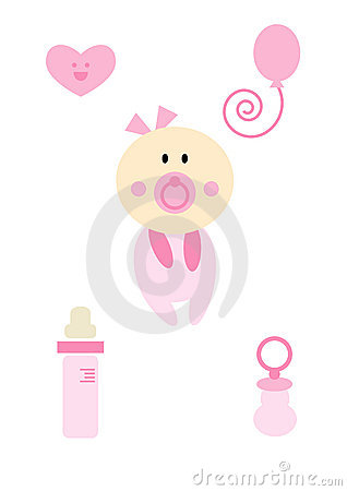 Clipart Set: Baby girl (pink)