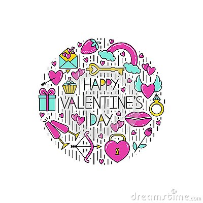 Clipart of the symbols of Valentine`s Day for postcards. Vector Illustration
