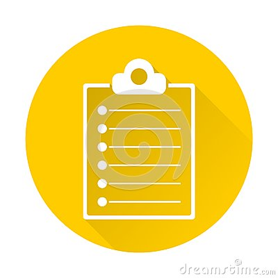 Clipboard list with long shadow Vector Illustration