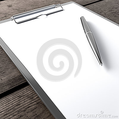 Clipboard with pen on the wooden table