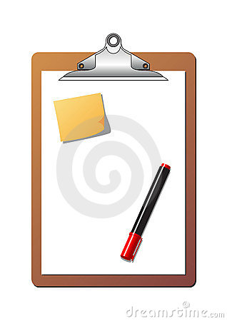 Free Clipboard Post It Note And Marker Stock Image - 1767851