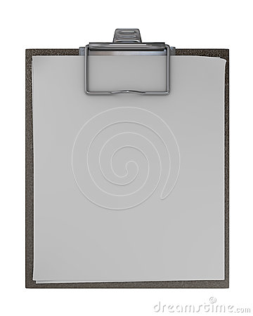 Clipboard with sheets of paper