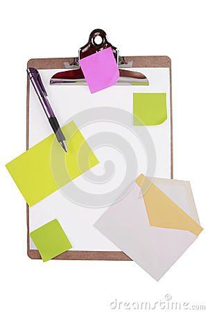 Clipboard with sticky notes and cards