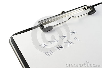 Clipboard and tally marks