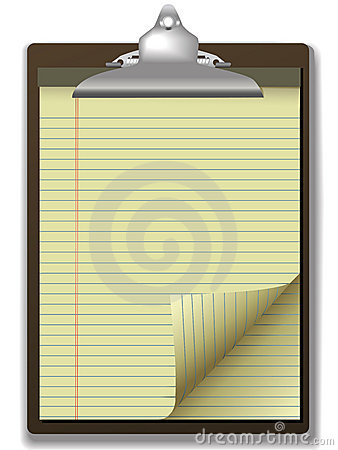 Clipboard Yellow Legal Pad Corner Paper Page Curl