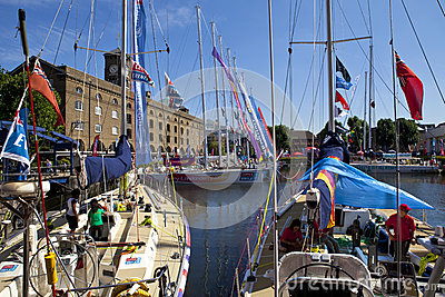 Clippers Moored at St Katherine Dock in London Editorial Image
