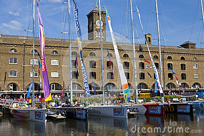 Clippers Moored at St Katherine Dock in London Editorial Stock Photo