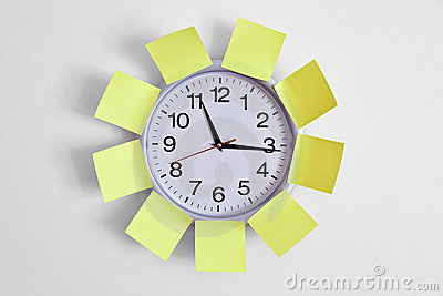 Clock and Adhesive Note