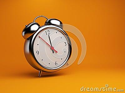 Clock alarm 3D. Time concept. On orange