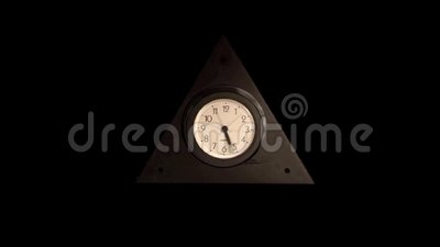 Clock analog timelapse black background. Slow enlargement stock video footage