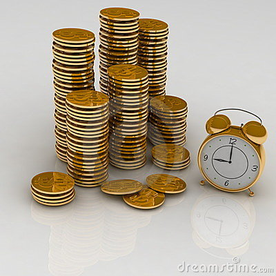 Free Clock And Coins Stock Photos - 19095453