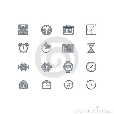 Free Clock And Time Icon Set Royalty Free Stock Images - 34443729