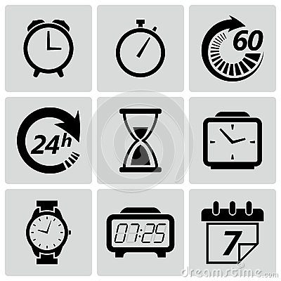 Free Clock And Time Icons. Vector Illustration Royalty Free Stock Photo - 33043145