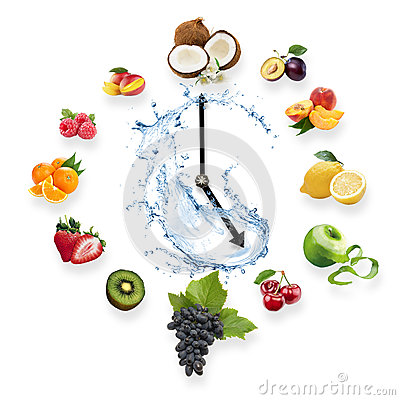 Free Clock Arranged From Healthy Fruits Splash By Water Isolated On W Royalty Free Stock Image - 63541956