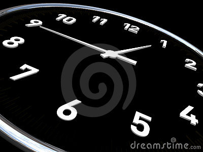 Clock in black background and white dials