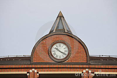 The clock on the building